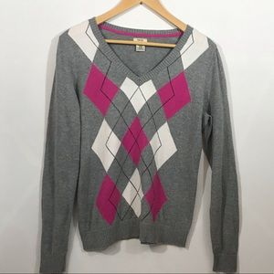 Izod argyle pullover sweater grey pink white Med